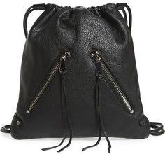 Rebecca Minkoff 'Moto' Leather Drawstring Backpack