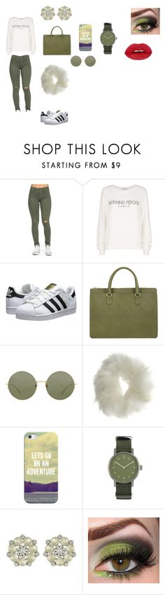 """kaki"" by camelia-kaylahana on Polyvore featuring Wildfox, adidas Originals, Valextra, Linda Farrow, Miss Selfridge, Casetify and Void"