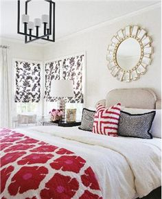 Great pop of color, blanket pattern, and use of white.
