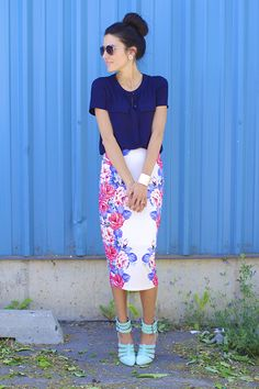 The pencil skirt is a great addition to your summer work wardrobe. Try to find a skirt that hits just below the knee, like this one seen on Christine of Hello Fashion. #officeattire #summerfashion