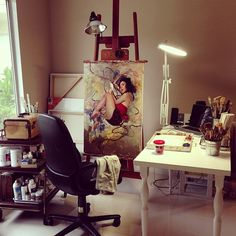 So many beautiful artist workspaces and studios. Love them all :)  http://tmblr.co/Z6gfkwj_oxBB