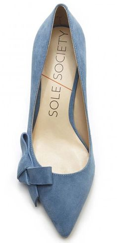 Lush chambray suede mid heels pump with a pointed toe and ladylike bow