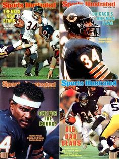 """Walter Payton Chicago Bears There may not have been a more versatile athlete in league history. """"Sweetness"""" rushed for yards (second most all-time), caught 492 passes, threw for eight touchdowns and often punished defenders with his blocking. Nfl Football Players, Bears Football, Football Cards, One Man Gang, Sports Ilustrated, Las Vegas, Sports Illustrated Covers, Walter Payton, Nfl Chicago Bears"""