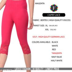 Leggings & Tights  Fabulous Women's Legging Fabric: Vertex Waist Size: XL- 26 in To 30 in  XXL - 32 in To 34 in Length: Up To 34 in Type: Stitched Description: It Has 1 Piece Of Women's Trouser  Work:  Capri Lace Work Country of Origin: India Sizes Available: XL, XXL *Proof of Safe Delivery! Click to know on Safety Standards of Delivery Partners- https://ltl.sh/y_nZrAV3  Catalog Rating: ★4.2 (4835)  Catalog Name: Alexandra Fabulous Vertex Womens Leggings Vol 1 CatalogID_121886 C79-SC1035 Code: 012-1012542-