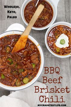 Don't wait until Fall to eat chili! This BBQ brisket chili is the perfect summertime meal. Beef brisket, okra, cabbage and barbecue sauce are combined in a slow cooker for the perfect healthy, keto, Whole30 and paleo-approved summer chili. #chili #brisket #bbq #barbecue #slowcooker #crockpot #easy #tangy #whole30 #paleo #keto #healthy #nobean #texas