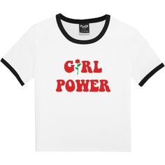 GIRL POWER RINGER T-SHIRT (50 BRL) ❤ liked on Polyvore featuring tops, t-shirts, baby doll tops, babydoll tee, hipster tees, gothic t shirts and white t shirt