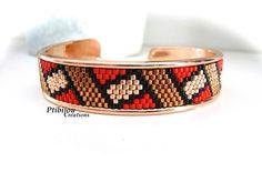 bracelet jonc métal doré rose et tissage peyote