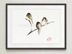 Bird Painting Original Watercolor Nature Painting by SamuraiArt