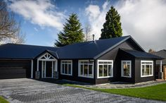 Gardner home looks great from the road front. French Collection, Secret Boards, Garage Shop, New Builds, Home Look, Black House, House Plans, Home And Garden, Exterior