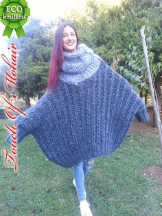 Chic NB Hand Knitted Mohair Sweater Unisex Thick Fuzzy Jumper 6 Strang GRAY M-XXL womens Sweaters from top store Mohair Sweater, Poncho Sweater, Jumper, Sweater Dresses, Sweater Outfits, Thick Sweaters, Sweaters For Women, Big Knits, Crop Top Sweater