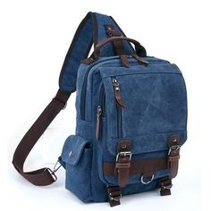 Men Versatile Casual Crossbody Bag Leisure Canvas Travel Outdoor Backpack