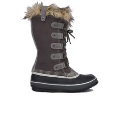 Sorel Women's Joan Of Arctic Boots - Brown ($170) ❤ liked on Polyvore featuring shoes, boots, mid-calf boots, shale, leather lace up boots, pull on boots, slip on leather boots and pull on leather boots