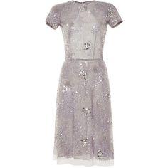 Naeem Khan Sequin Dress ($4,990) ❤ liked on Polyvore featuring dresses, naeem khan, short dresses, grey, a line dress, short sleeve cocktail dresses, sequin mini dress and short sequin cocktail dresses