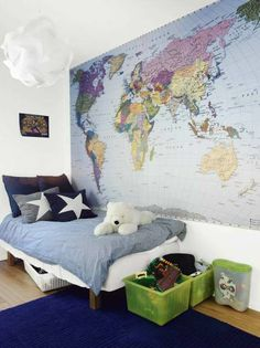 Mapa mundi en la pared de la habitación infantil, buena idea !