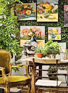 an outdoor space with wonderful paintings