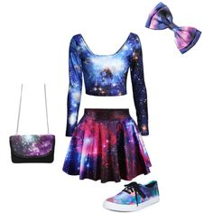 U think I like Galaxy♥️ by aphmau on Polyvore featuring Vans