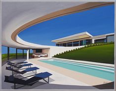 Mid Century Modern Eames Retro Limited Edition Print from Original Painting Circular Patio Pool