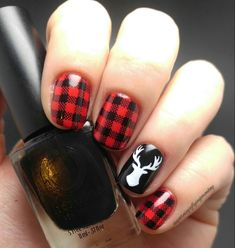 Plaid and deer buck nails red and black fall autumn nails