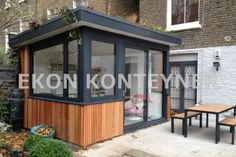 small extension we did in Westbourne Grove last year- larch cladding and green roof shed design shed diy shed ideas shed organization shed plans Backyard Office, Outdoor Office, Backyard Studio, Outdoor Rooms, Small Garden Office, Larch Cladding, Roof Cladding, Studio Shed, Balkon Design