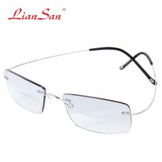 35.44  Aliexpress.com  Comprar Liansan vendimia titanio sin montura bifocales  Gafas para leer las mujeres hombres ligero marca presbyopic hyperopia l8015  de ... 89db5c96a3