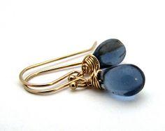 Small navy blue drop earrings, midnight blue glass earrings, gold filled glass jewelry, dark blue earrings, delicate jewelry, Czech glass