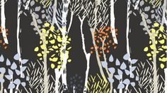 Midnight Forest in Ebony 559 - WILDWOOD - Dear Stella Design Fabric - By the Yard  Horizontal repeat: 11.75 inches, Vertical repeat: 6.625 inches Largest leaf is .5 tall x .375 wide.  100% Cotton Quilting/Apparel Weight 44/45 wide  To view other items in this collection: http://www.etsy.com/shop/MoonaFabrics/search?search_query=wildwood  For other Dear Stella fabrics: http://www.etsy.com/shop/MoonaFabrics/search?search_query=dear+stella