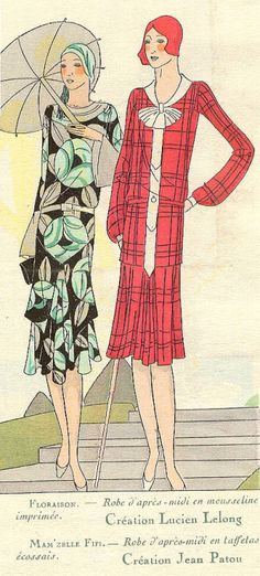 """Dresses by Lucien Lelong and Jean Patou.  """"Art Goût Beauté"""" magazine, July 1929"""
