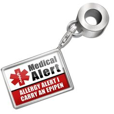 """Neonblond Bead/Charm Medical Alert Red """"Allergy Alert 1 Carry an Epipen"""" - Fits Pandora Bracelet from NEONBLOND Jewelry & Accessories"""