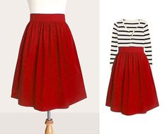 love the vibrant red skirt w/ the black & white striped shirt