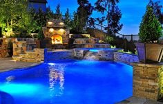 Nice Backyard Pools #3: Beautiful Backyard Pools Best 1 - Beautiful Back Yard Pool At Night