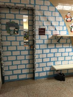 Classroom igloo door decoration for the winter season.