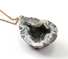 Raw stone necklace druzy necklace oco agate geode by NatureLook, $90.00