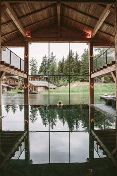 Indoor pool room at San Luis Retreat Hotel & Lodges, Italy Design Hotel, Boutique Hotels, Lakeside Resort, Spa Hotel, Timber Buildings, Fancy Houses, South Tyrol, Indoor Swimming Pools, Visit Italy