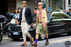 Milan Fashion Week SS 2016 Street Style: Ana Gimeno Brugada and Bettina Oldenburg.