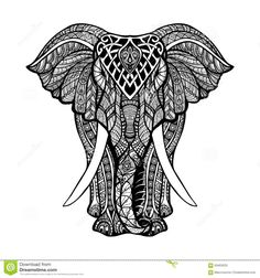 Decorative Elephant Illustration Stock Vector - Image: 59463533