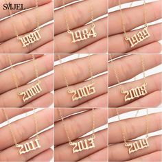 SMJEL Personalized Year Number Necklaces for Women Custom Year 1980 1989 2000 Birthday Gift from 1980 to 2019 Pearl Pendant, Pendant Necklace, Gold Necklace, Birthday Gifts For Women, Affordable Jewelry, Simple Necklace, Necklace Types, Chain Pendants, Fashion Necklace