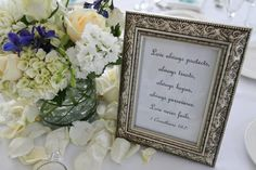 Framed quotes on tables