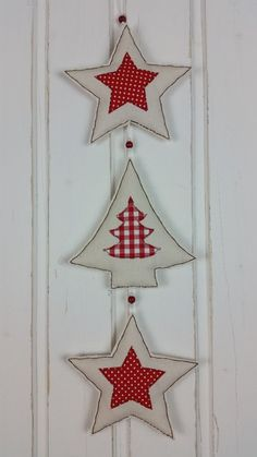 Christmas Decorations - Garland * Stars + Fir-tree * Fabric Christmas - a unique product by MARA-MEL Felt Christmas Decorations, Felt Christmas Ornaments, Christmas Diy, Holiday Decor, Christmas Projects, Diy And Crafts, Christmas Crafts, Garland, Merry