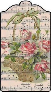graceful flower basket with sheet music background