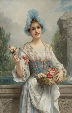 Léon-François Comerre (French, 1850-1934) - The Flower Seller - Oil on canvas