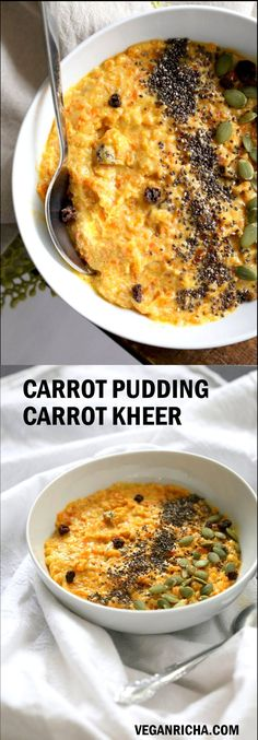 Carrot Pudding with Cardamom - Carrot Kheer Recipe. Shredded Carrots slow cooked with almond milk, roasted nuts and cardamom. Serve as is or top with toasted nuts, seeds and chia. #Vegan #Glutenfree #grainfree #Soyfree #veganricha #Nutfree option | VeganRicha.com