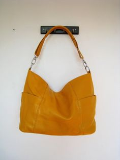 Leather hobo Jolie large yellowhandmade Leather bag/ by Adeleshop