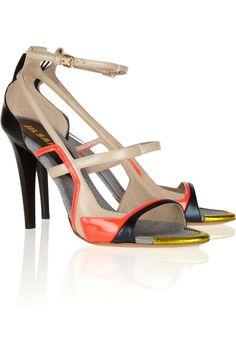 Jil Sander|Color-block leather sandals|NET-A-PORTER.COM