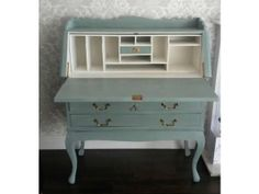 Secretary painted in color Duck Egg Blue...Chalk Paint® by Annie Sloan