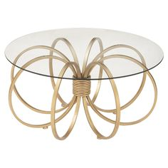 DecMode Metal and Glass Round Coffee Table   from hayneedle.com