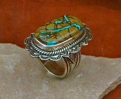 Silver and Royston Boulder Turquoise Ring by Albert Jake