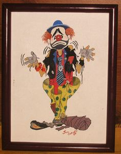 vintage 'Humble Rodeo Clown' oil painting by charlottesWONDERweb, $35.00
