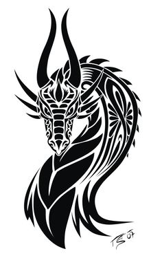Beautiful Tribal Dragon That Has Horns Tattoo Design - Beautiful Tribal . - Beautiful Tribal Dragon That Has Horns Tattoo Design – Beautiful Tribal Dragon That Has Horns Tat - Tribal Dragon Tattoos, Tribal Tattoos, Body Art Tattoos, Tattoos, Dragon Silhouette, Art Tattoo, Art, Dragon Art, Tattoo Designs