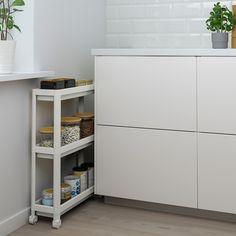 "VESKEN Cart, white, 21 1/4x7 1/8x28"" - IKEA Bathroom Cart, Bathroom Storage Units, Wall Storage, Wall Shelves, Kitchen Storage, Small Bathroom, Storage Spaces, Tall Cabinet Storage, Small Bathrooms"