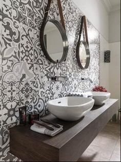 """The attraction of all things """"classic"""" from Tile of Spain. Pictured here: Porcelanosa tile. Series: Barcelona E. Wall tiles in (12.5X35.5""""). Matte hues. Four different patterns installed randomly."""